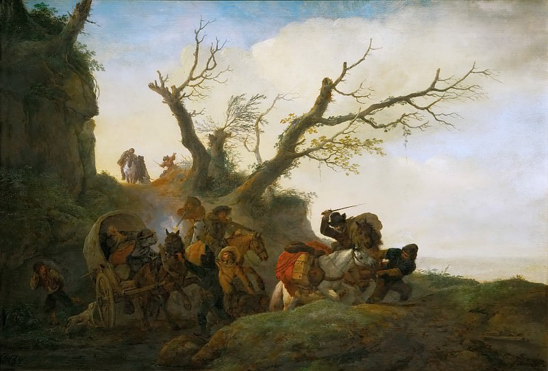 Philips Wouwerman -- Attack on a group of travellers. Kunsthistorisches Museum