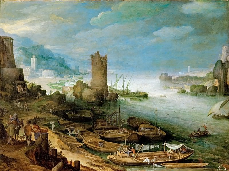 Paul Bril (1554-1626) -- River Landscape with Ruined Tower. Kunsthistorisches Museum