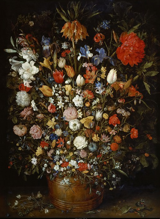 Jan Brueghel the elder -- Flowers in a Wooden Vessel. Kunsthistorisches Museum