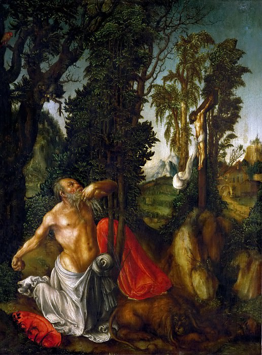 Lucas Cranach the elder -- Saint Jerome in Penance. Kunsthistorisches Museum