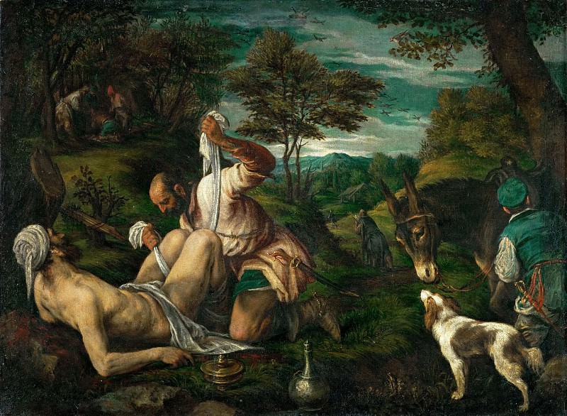 Francesco Bassano II (1549-1592) -- Parable of the Good Samaritan. Kunsthistorisches Museum