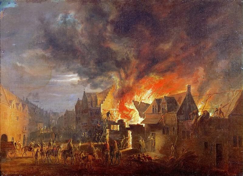 Robert van den Hoecke (1622-1668) -- Archduke Leopold Wilhelm at a Nighttime Fire. Kunsthistorisches Museum