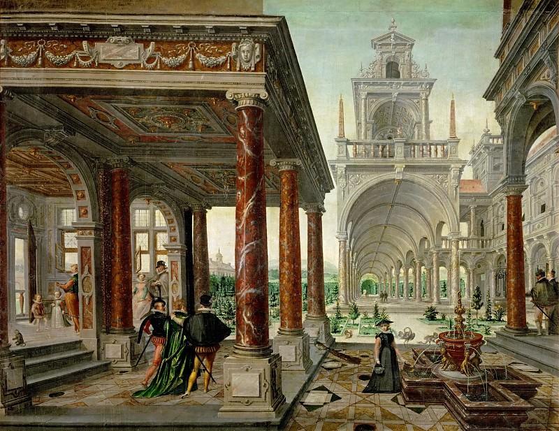 Hans Vredeman de Vries, Paul Vredeman de Vries, Dirk de Quade van Ravesteyn -- Palace Architecture with Strollers. Kunsthistorisches Museum