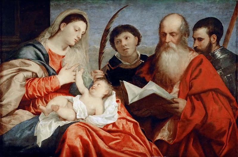 Тициан - Мадонна с младенцем и свв Стефан, Иероним и Маврикий. Музей истории искусств