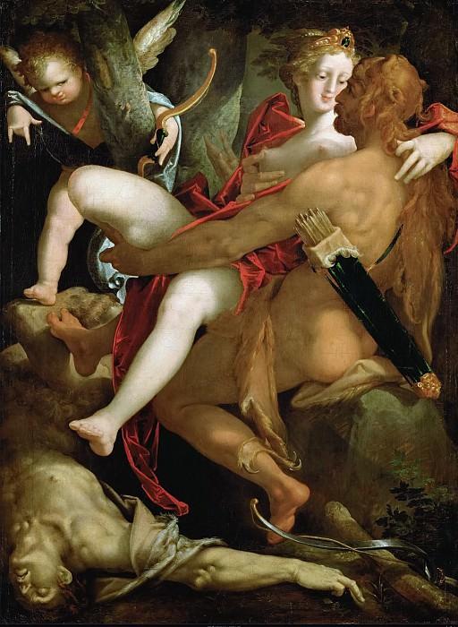 Bartholomaeus Spranger -- Hercules, Dejaneira and the Dead Centaur Nessus. Kunsthistorisches Museum