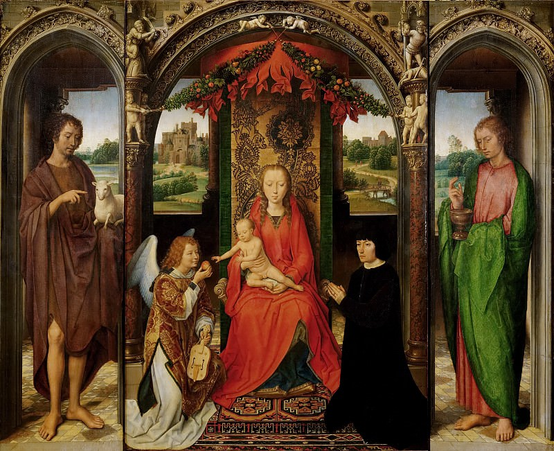 Hans Memling -- Triptych with the Virgin and Child Enthroned. Kunsthistorisches Museum