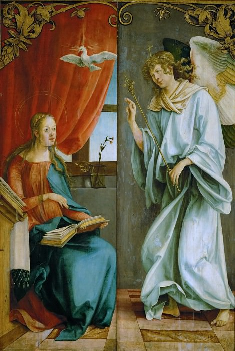 Hans von Kulmbach (c. 1485-1522) -- Annunciation, outer wings of an altarpiece. Kunsthistorisches Museum