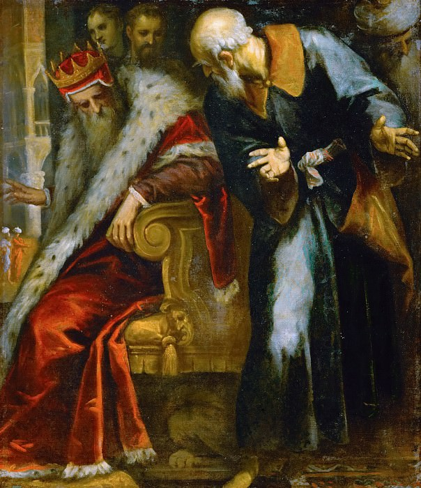 Jacopo Palma, il giovane -- The Prophet Nathan admonishes King David. Kunsthistorisches Museum