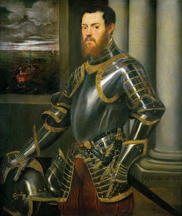 Jacopo Tintoretto -- Man with Gold-damascened Armor. Kunsthistorisches Museum