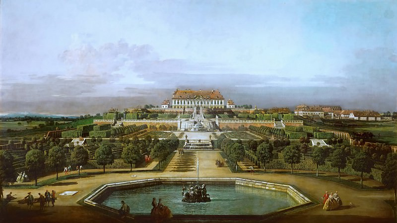 Bernardo Bellotto (1721-1780) -- Schlosshof Castle, View from the Garden. Kunsthistorisches Museum