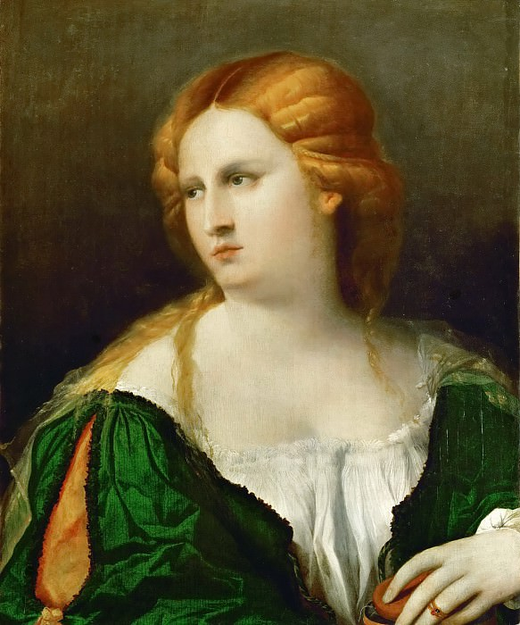 Jacopo Palma, il vecchio -- The Lady in the green dress. Kunsthistorisches Museum