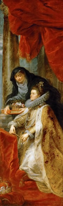 Peter Paul Rubens -- Ildefonso Altarpiece; detail of right wing with Infanta Isabella Clara Eugenia with Saint Elisabeth of Hungary. Kunsthistorisches Museum