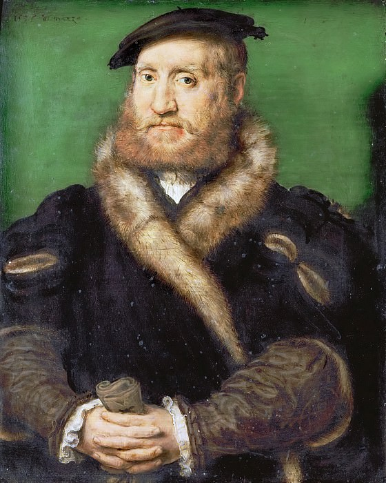 Corneille de Lyon -- Portrait of a Bearded Man with a Fur Coat. Kunsthistorisches Museum