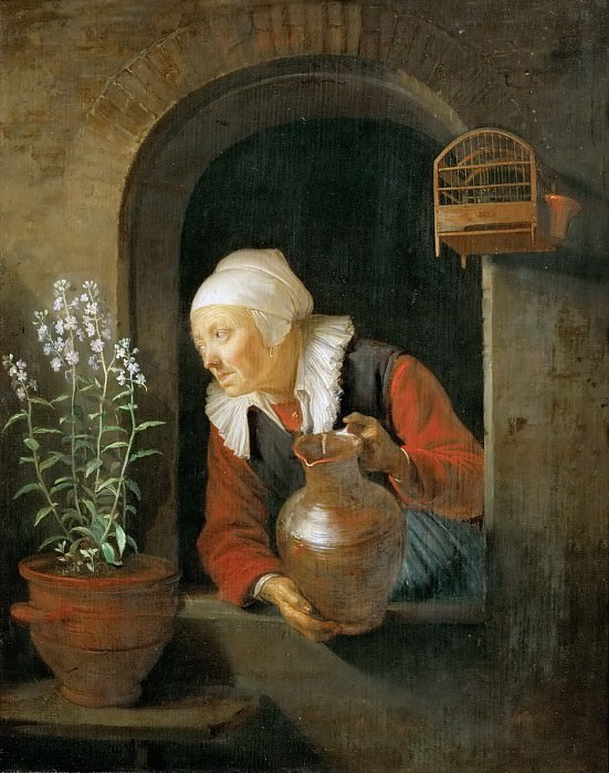 Gerrit Dou -- Old Woman at the Window Watering her Flowers. Kunsthistorisches Museum