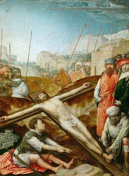 Juan de Flandes (c. 1465-1519) -- Christ Nailed to the Cross. Kunsthistorisches Museum