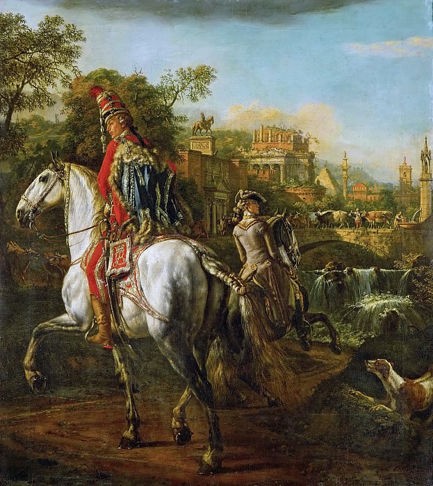 Bernardo Bellotto (1721-1780) -- Equestrian Portrait of a Hussar Officer. Kunsthistorisches Museum