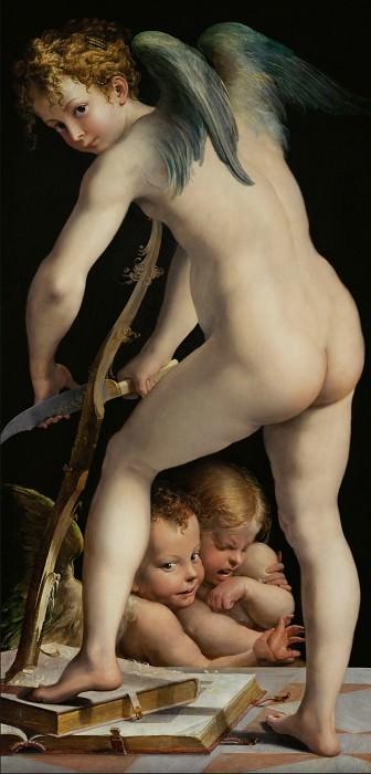 Parmigianino -- Cupid carving his bow. Kunsthistorisches Museum