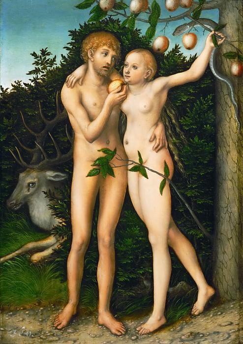 Lucas Cranach the elder -- The Fall. Kunsthistorisches Museum