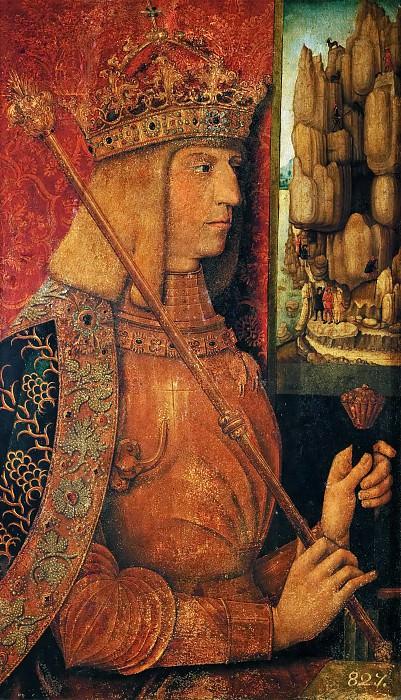 Bernhard Strigel -- Emperor Maximilian I, half length with scepter. Kunsthistorisches Museum