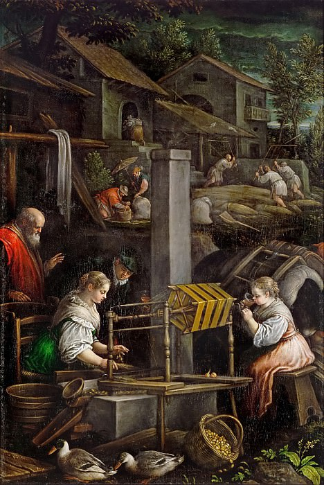 Leandro Bassano (1557-1622) -- July (Spinning and Weaving). Kunsthistorisches Museum
