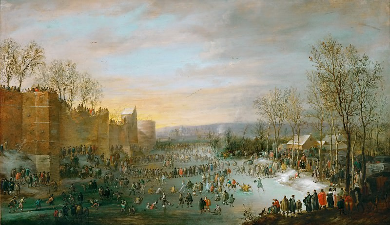 Robert van den Hoecke (1622-1668) -- Skating in the Town Moat of Brussels. Kunsthistorisches Museum