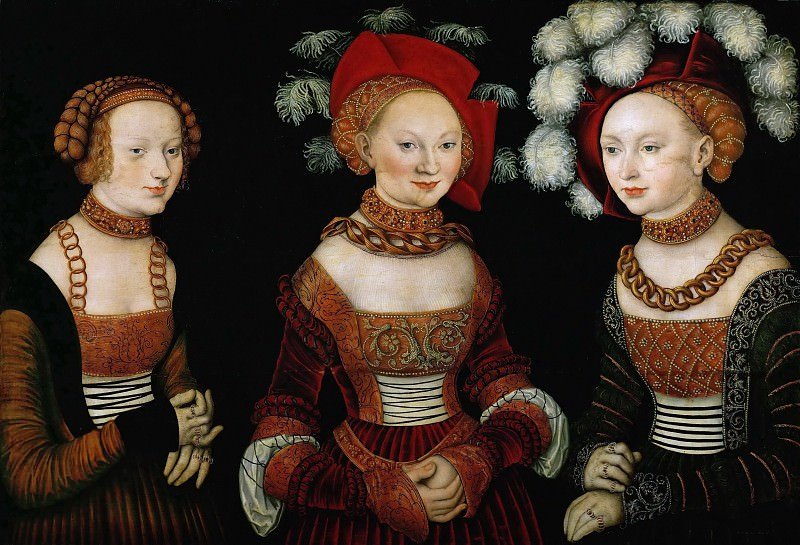Lucas Cranach the elder -- Princesses Sibylla, Emilia, and Sidonia of Saxony. Kunsthistorisches Museum