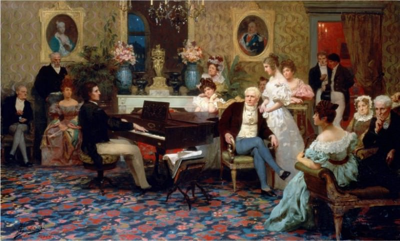 Chopin playing the piano in the salon of Prince Radziwill. 1887. Henryk Semiradsky