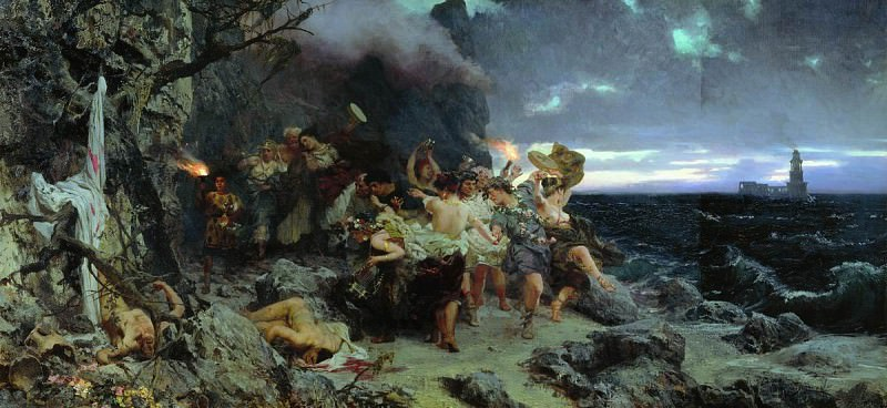 Orgy times of Tiberius on the island. Capri. 1881. Henryk Semiradsky