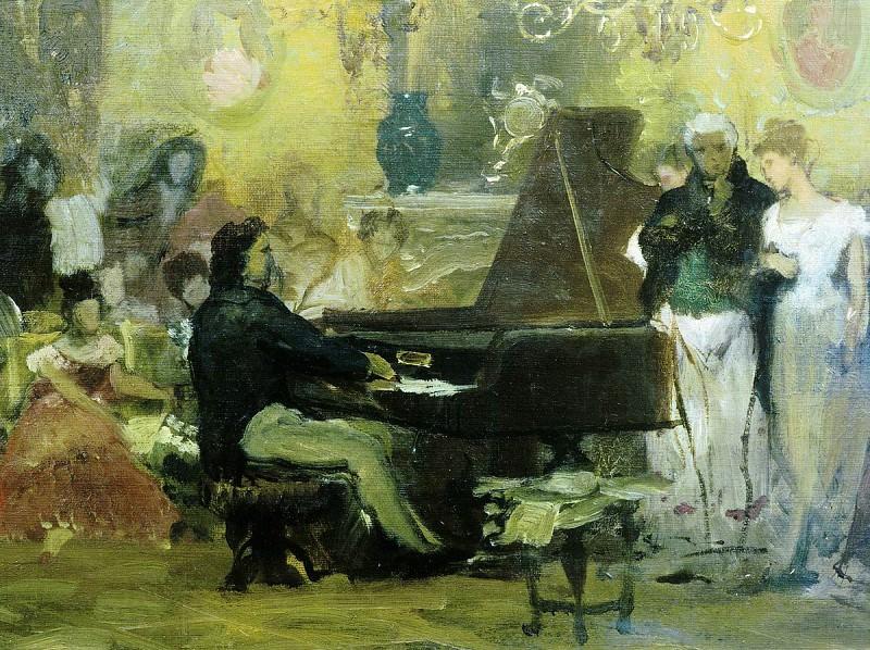 Шопен, играющий на фортепьяно в салоне князя Радзивилля в Берлине (эскиз). Генрих Ипполитович Семирадский