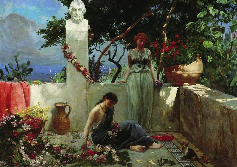 Девушки на террасе у бюста Гомера. 1890-е. Генрих Ипполитович Семирадский