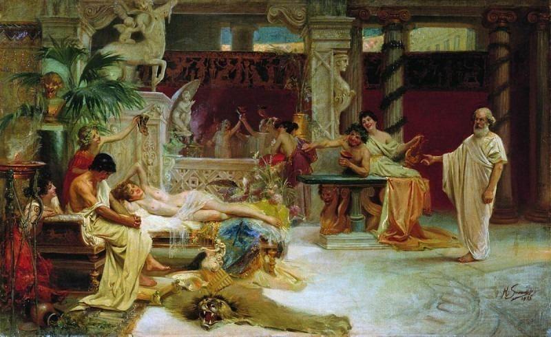 Socrates finds his pupil Alcibiades at hetaera. 1875. Henryk Semiradsky