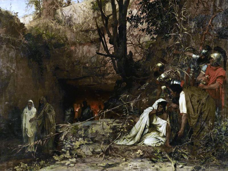 persecutors of Christians at the entrance to the catacombs. 1874. Henryk Semiradsky
