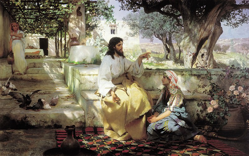 Christ with Mary and Martha. 1886. Canvas. Henryk Semiradsky