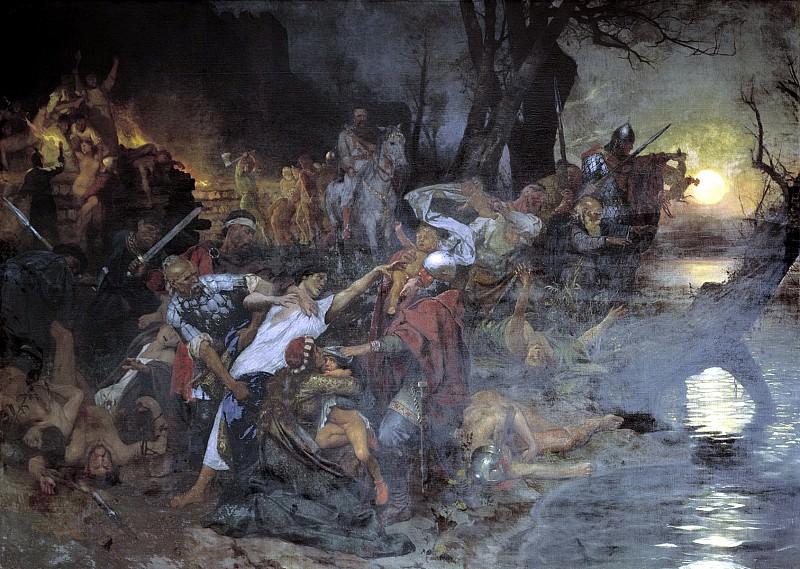 Тризна дружинников Святослава после боя под Доростолом в 971 году. Генрих Ипполитович Семирадский