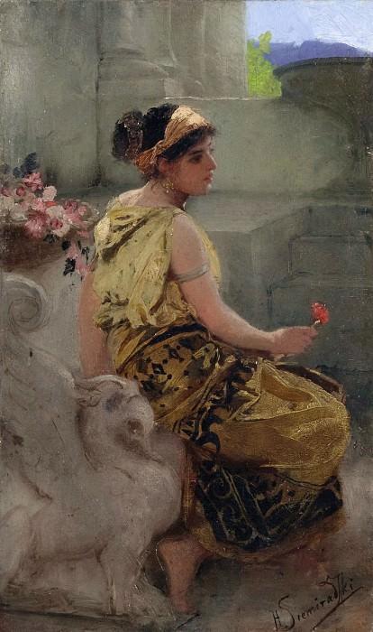Antique scene. (Girl with a Flower). Henryk Semiradsky