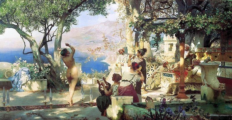dance among swords. 1881. Canvas. Henryk Semiradsky
