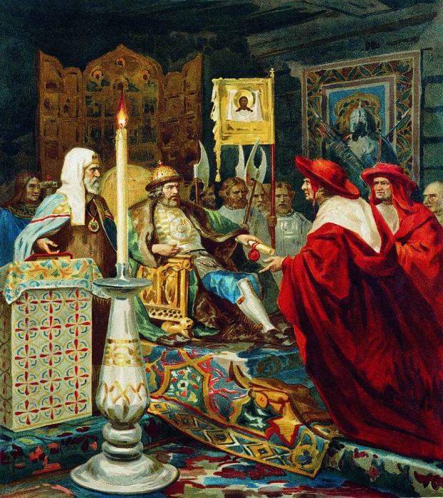 Александр Невский принимает папских легатов. Генрих Ипполитович Семирадский