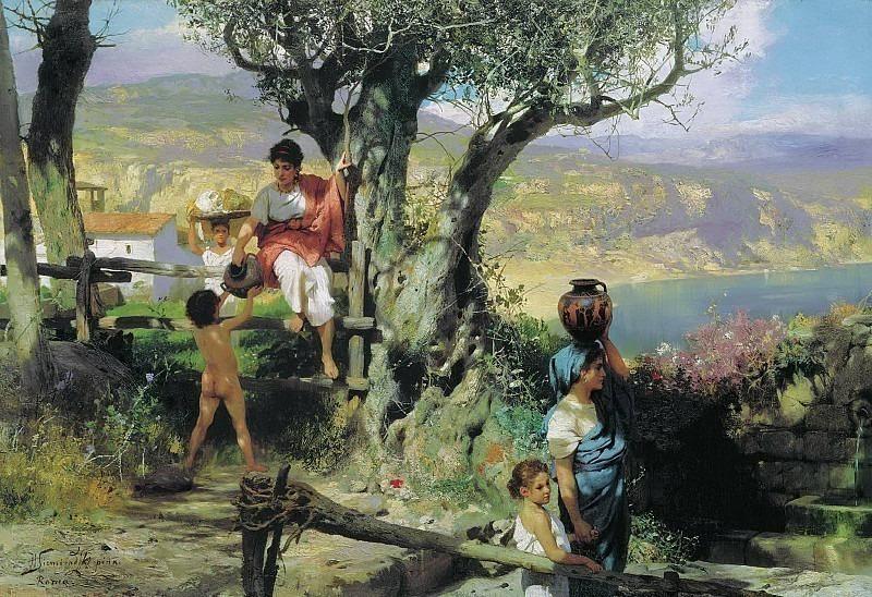 Римская деревня. За водой. Конец. 1880-х. Генрих Ипполитович Семирадский