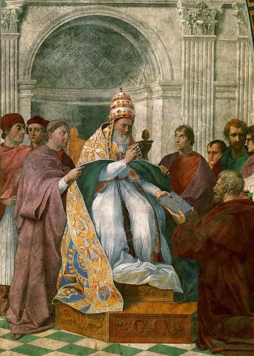 Станца делла Сеньятура: Кардинал и богословские добродетели (фрагмент). Рафаэль Санти