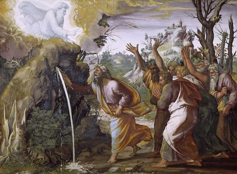 Moses Strikes Water from the Rocks. Raffaello Sanzio da Urbino) Raphael (Raffaello Santi
