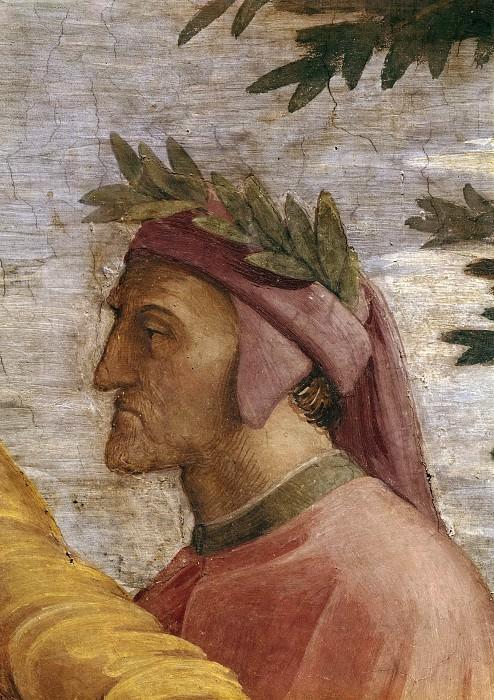 Станца делла Сеньятура: Диспут (фрагмент - Данте Алигьери). Рафаэль Санти