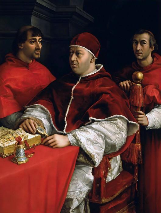 Pope Leo X with Cardinals Giulio de Medici and Luigi de Rossi. Raffaello Sanzio da Urbino) Raphael (Raffaello Santi