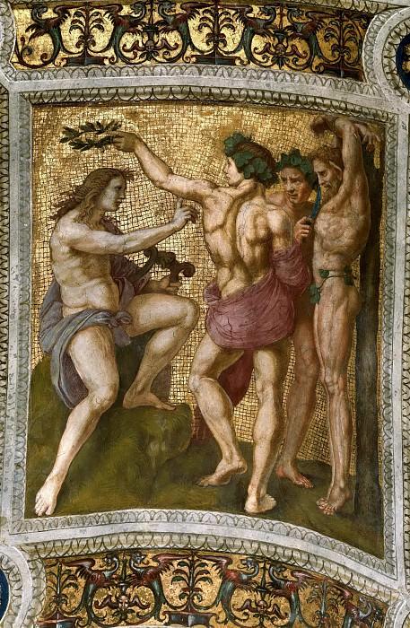 Станца делла Сеньятура: Роспись потолка (фрагмент) - Аполлон и Марсий. Рафаэль Санти