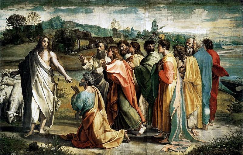Handing the keys to paradise. Raffaello Sanzio da Urbino) Raphael (Raffaello Santi