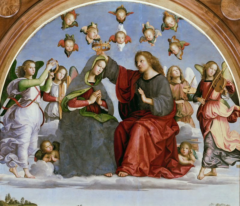 Oddi altarpiece - Coronation of the Virgin ( fragment). Raffaello Sanzio da Urbino) Raphael (Raffaello Santi