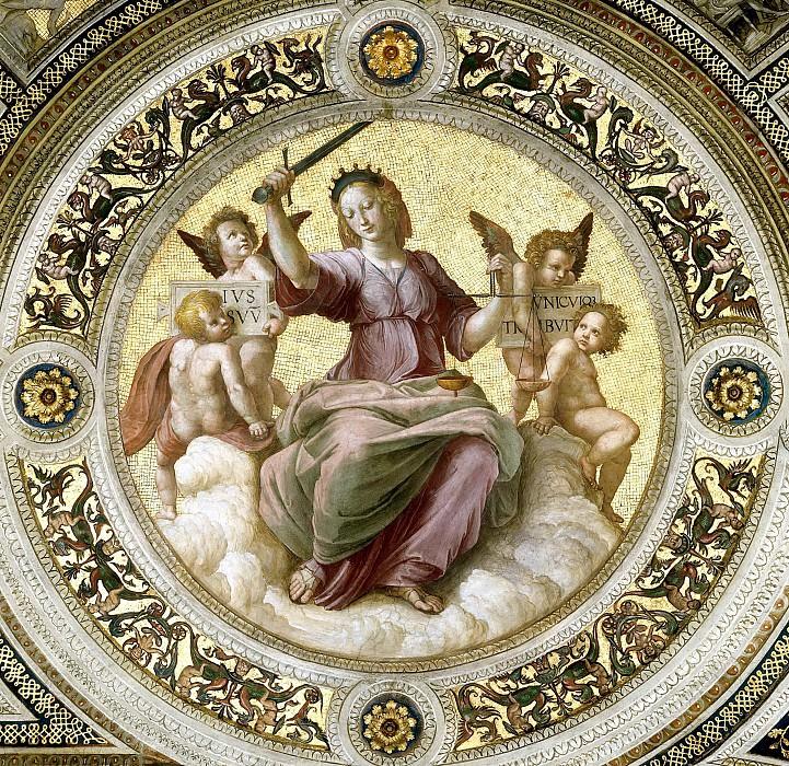 Станца делла Сеньятура: Роспись потолка (фрагмент) - Правосудие. Рафаэль Санти