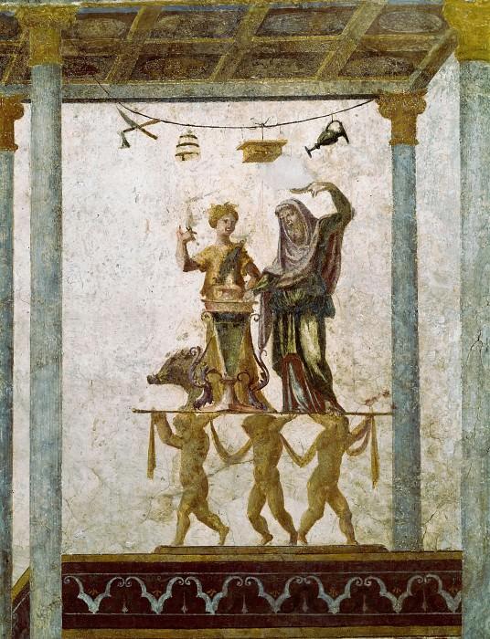 Fresco in Loggetta of Cardinal Bibbiena - Scene Showing a Sacrifice. Raffaello Sanzio da Urbino) Raphael (Raffaello Santi