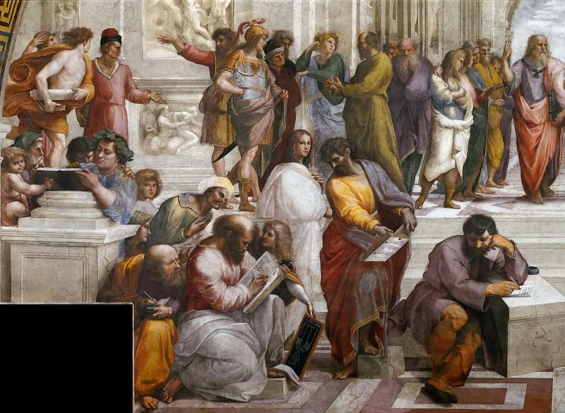 Stanza della Segnatura: The School of Athens (fragment). Raffaello Sanzio da Urbino) Raphael (Raffaello Santi