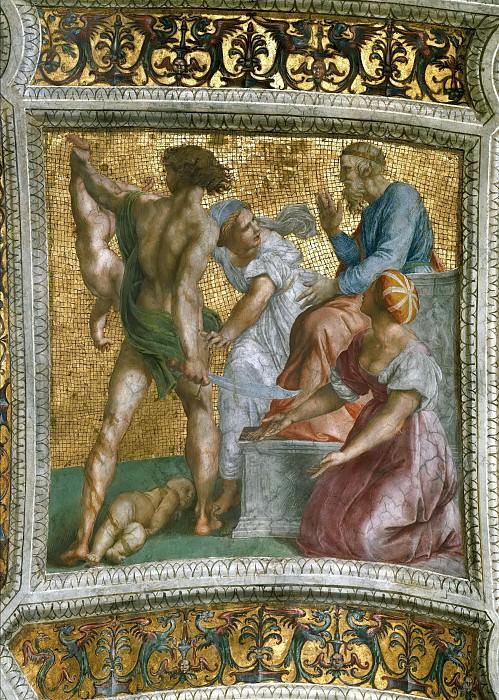 Станца делла Сеньятура: Роспись потолка (фрагмент) - Суд Соломона. Рафаэль Санти