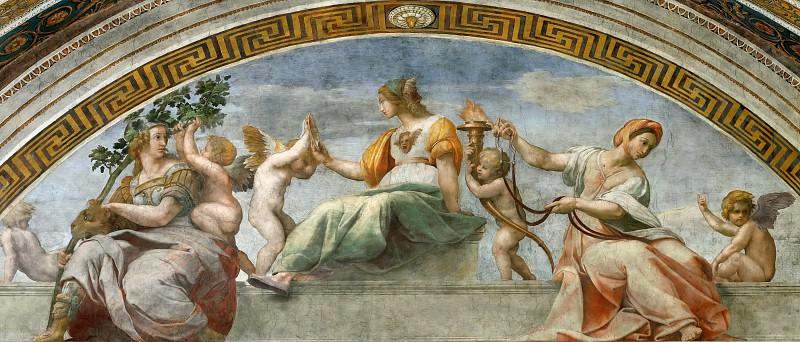 Stanza della Segnatura: Cardinal and Theological Virtues (fragment). Raffaello Sanzio da Urbino) Raphael (Raffaello Santi